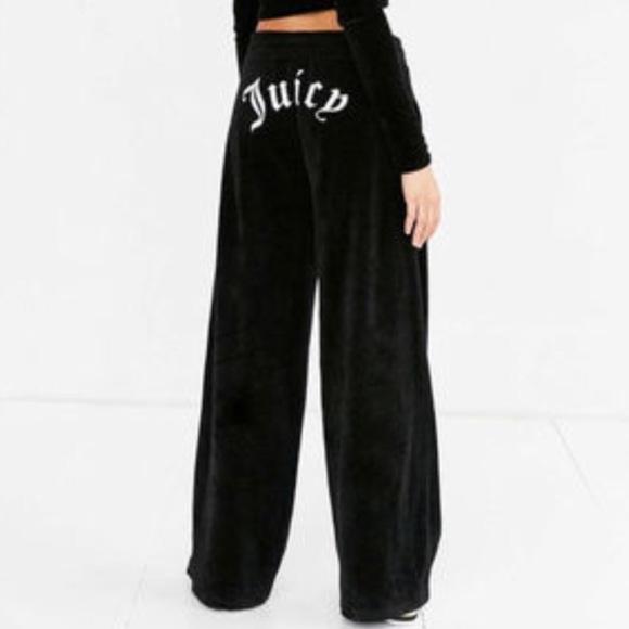 NWT Juicy Couture Black Velour Wide Leg Logo Pant b3f2d3894